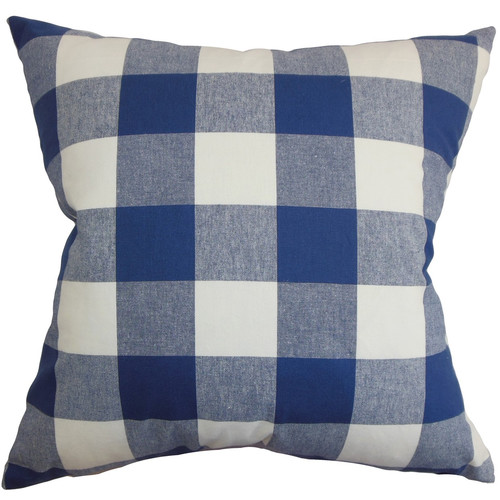 The Pillow Collection Vedette Plaid Cotton Throw Pillow Cover