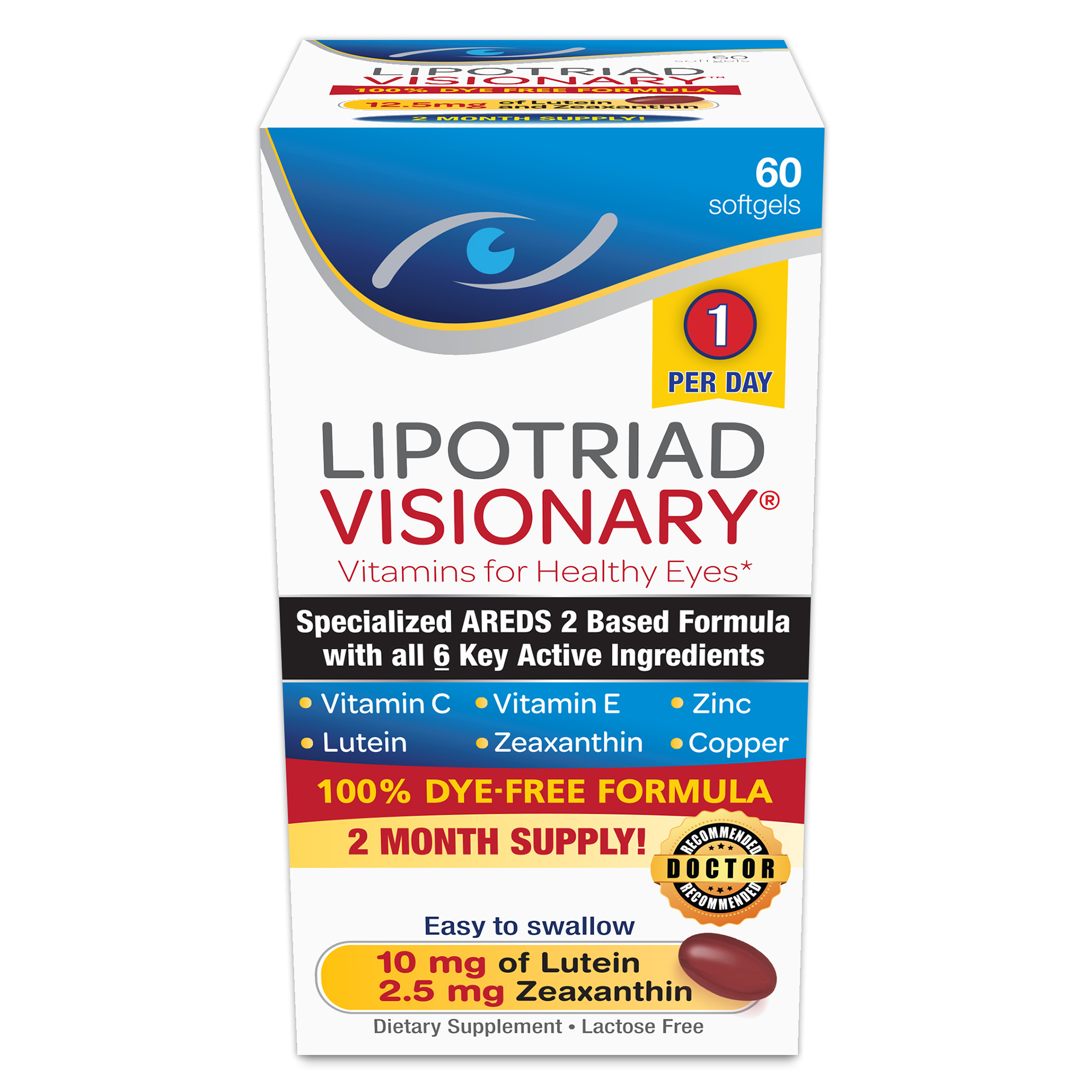 Lipotriad Visionary AREDS 2 Based Eye Vitamin and Mineral Supplement, 60 Ct