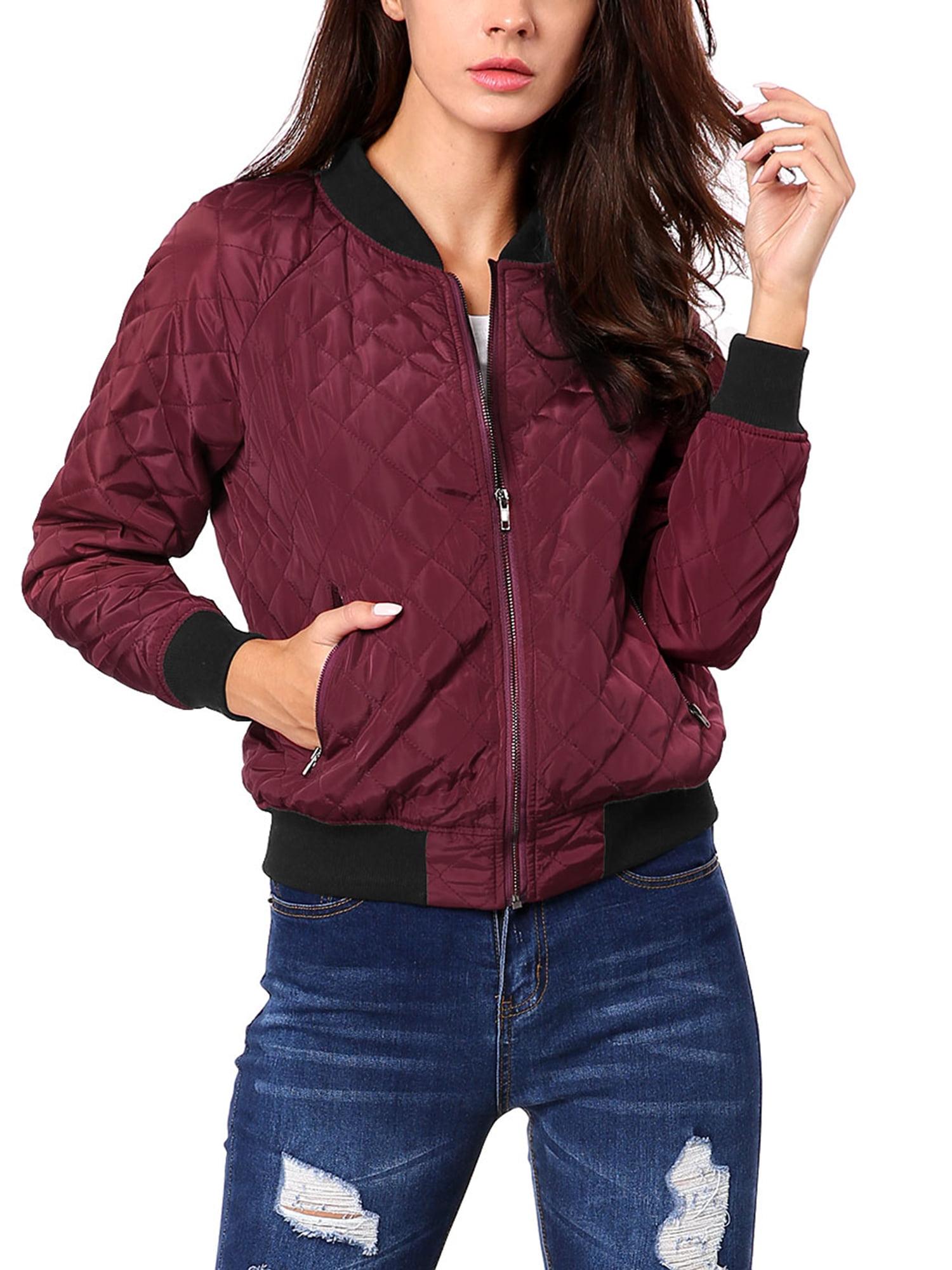 Allegra K - Allegra K Women's Quilted Jackets Stand Collar Zip Up Raglan  Sleeves Bomber Jacket - Walmart.com - Walmart.com