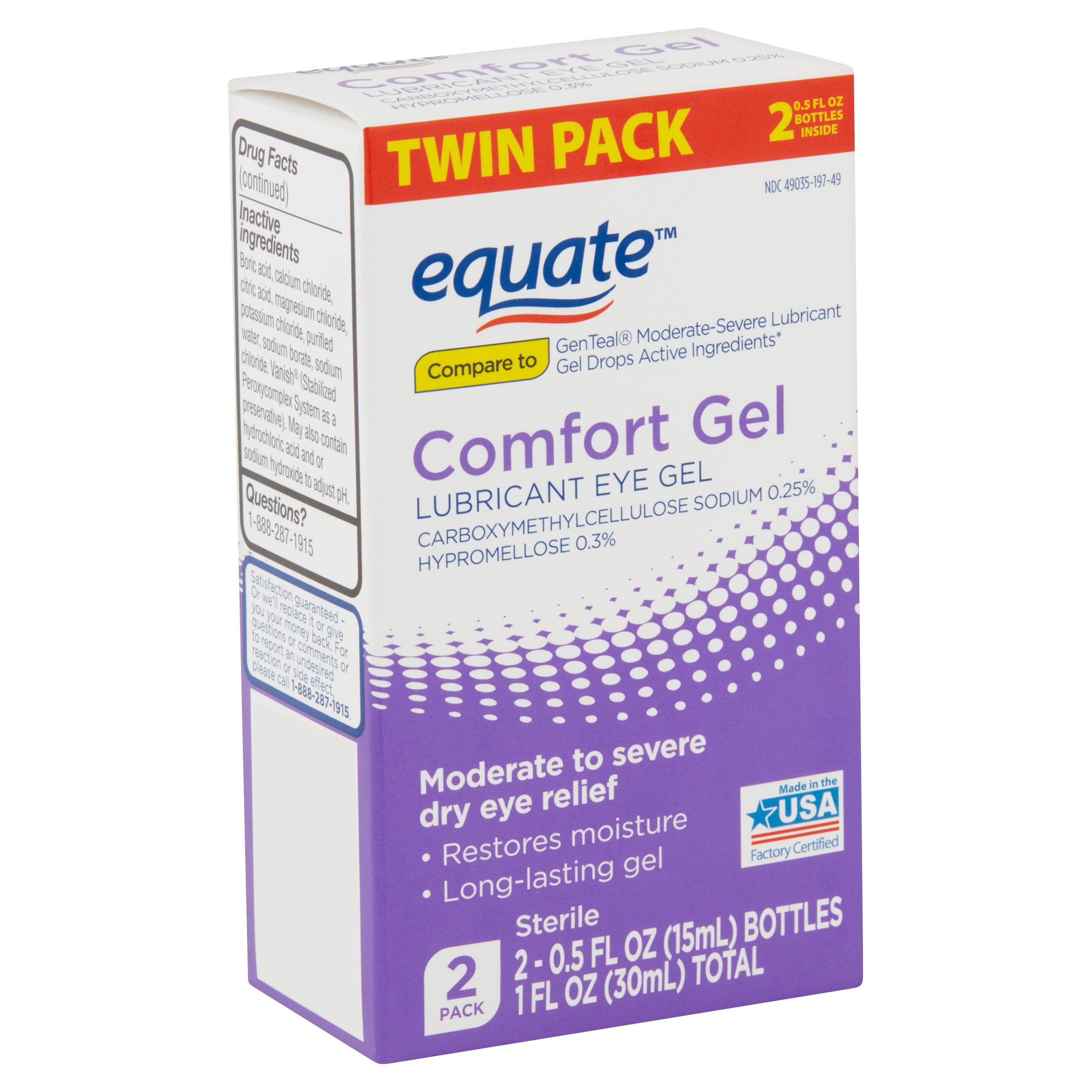 Equate Comfort Lubricant Eye Gel Twin Pack, 0.5 fl oz, 2 Count