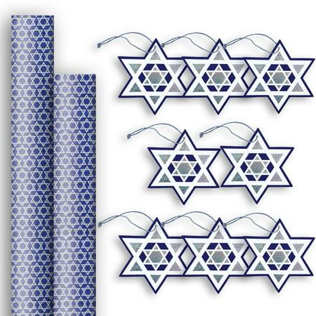 Jillson & Roberts Premium Gift Wrap Jumbo Roll & Gift Tag Assortment, Hanukkah (2 Rolls & 8 Tags)