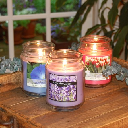 Floral Collection Scented Candles, 18 oz Apothecary Jar, Set of 3 ()