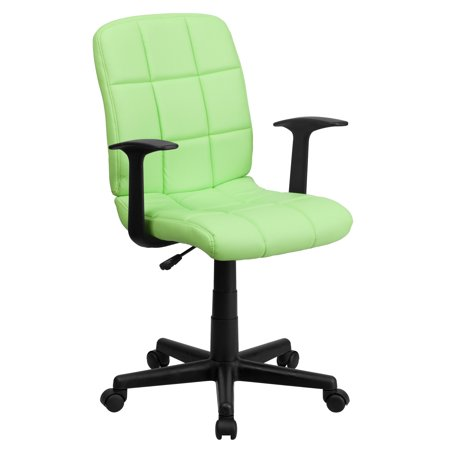 A Line Furniture Menil Green Quilted Design Leatherette Swivel Adjustable Office Chair ()