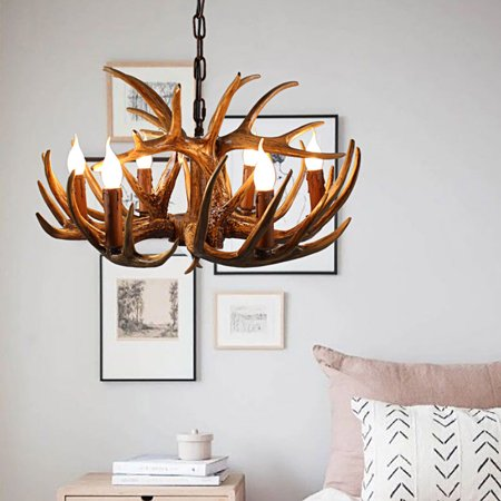 Reproduction Antler Chandeliers (Antler Chandeliers American Country Sitting Room Bedroom Mediterranean Resin Droplight Creative Personality Internet Cafe Cafe)
