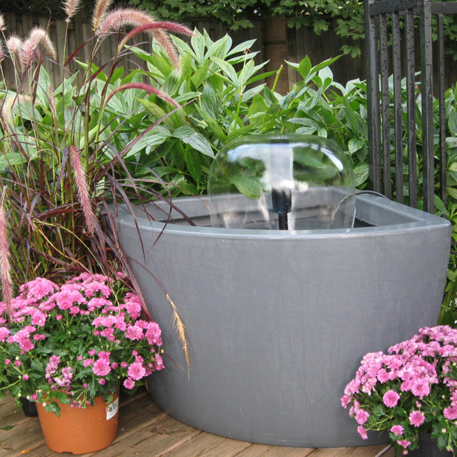 Algreen Hampton 35 Gallon Contemporary Charcoal Patio and Deck Pond Water Feature Kit with Light