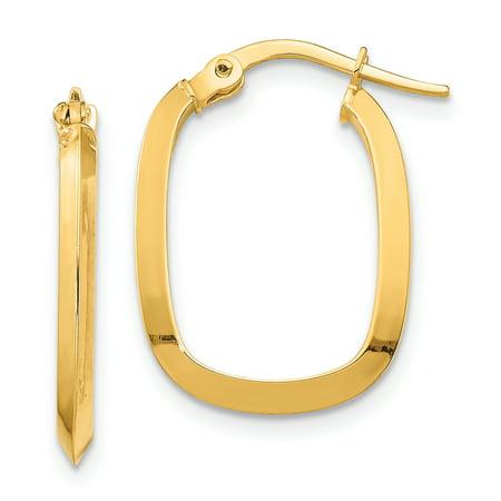 Primal Gold 14 Karat Yellow Gold Small 2x2mm Knife Edge Oval Hoop Earrings