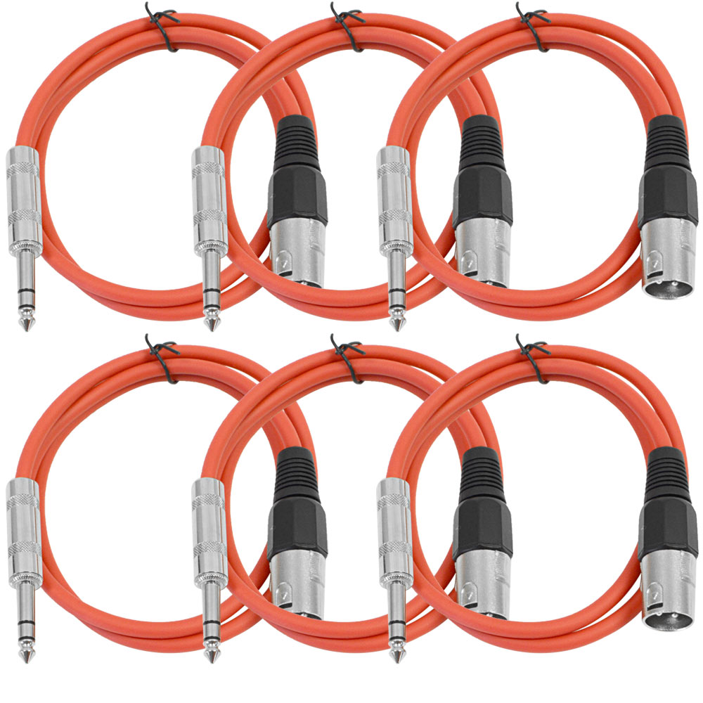 """Seismic Audio SEISMIC 6 PACK Red 1/4"""" TRS to XLR Male 2' Patch Cables Red - SATRXL-M2Red6"""