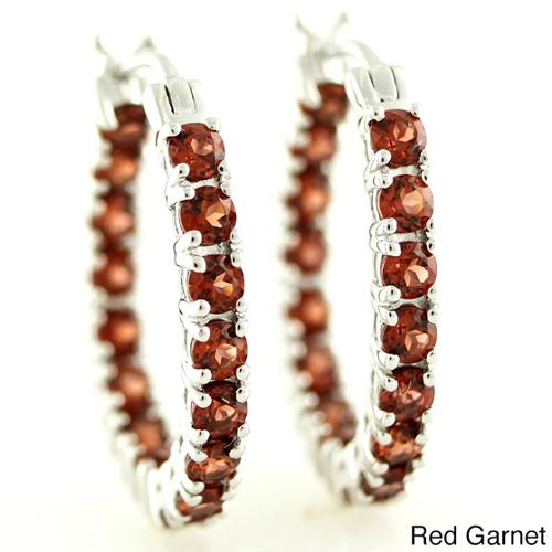 Sterling Silver 1-inch Inside-out Oval Gemstone Hoop Earrings Garnet
