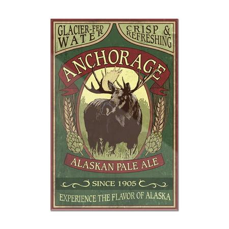 Anchorage, Alaska - Moose Head Ale Vintage Sign - Lantern Press Artwork (8x12 Acrylic Wall Art Gallery Quality) ()