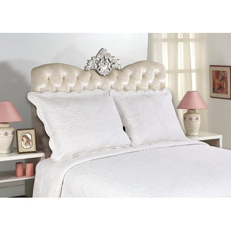 All For You 2-Piece Embroidered Quilted Pillow shams-standard size - TOTAL 14 colors (White) - Embroidered Boudoir Sham