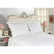 All For You 2-Piece Embroidered Quilted Pillow shams-standard size - TOTAL 14 colors (White)