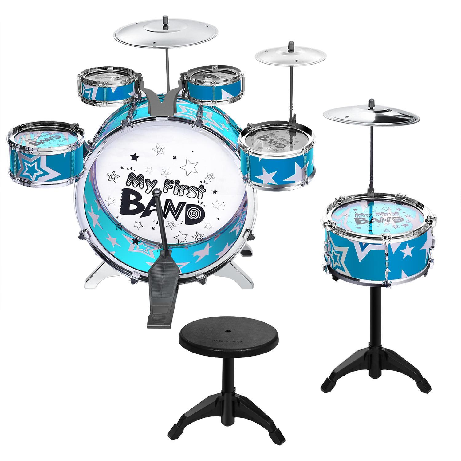 Clearance! Kids Toy Musical Instrument 11 Piece Kids Drum Set with Stool FSBR