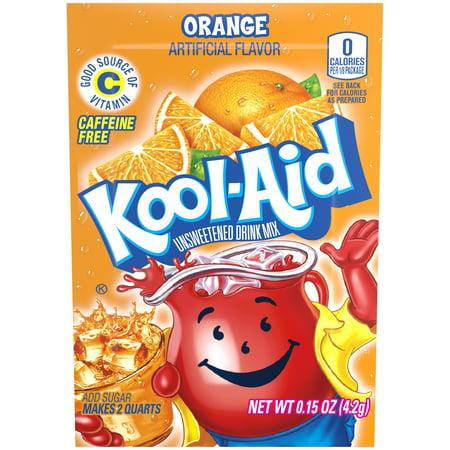 (4 Pack) Kool-Aid Orange Unsweetened Drink Mix, 0.14 oz Envelope - Cool Aid Man