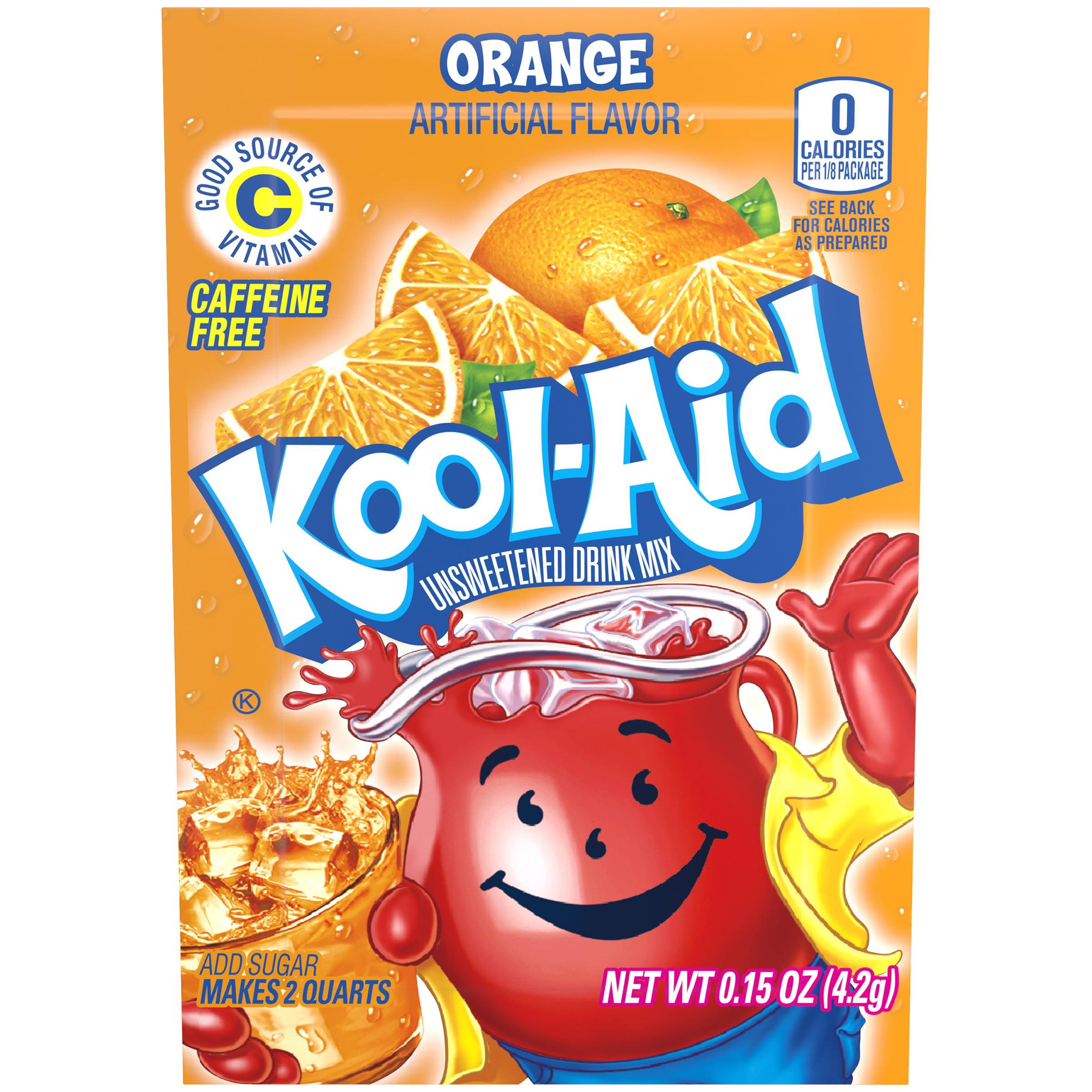 (3 Pack) Kool-Aid Orange Unsweetened Drink Mix, 0.14 oz Envelope
