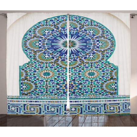 Moroccan Decor Curtains 2 Panels Set, Ceramic Tile With Ancient East Pattern Decorative Tracery Heritage Architecture, Living Room Bedroom Accessories, By Ambesonne
