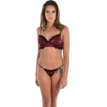 6bc4a9c7240 Fantasy - Fantasy Womens Red Black Push Up Bra Side Tie G-String Panty 2 Pc  Set - Walmart.com