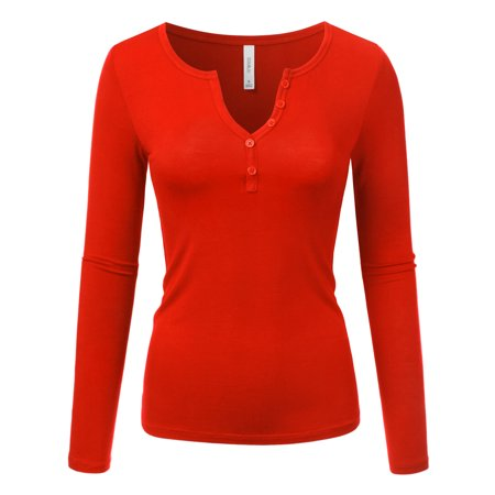 4f48427950b Doublju - Doublju Women s V Neck Long Sleeve Button Shirt Casual Blouses  Tops RED 1X Plus Size - Walmart.com