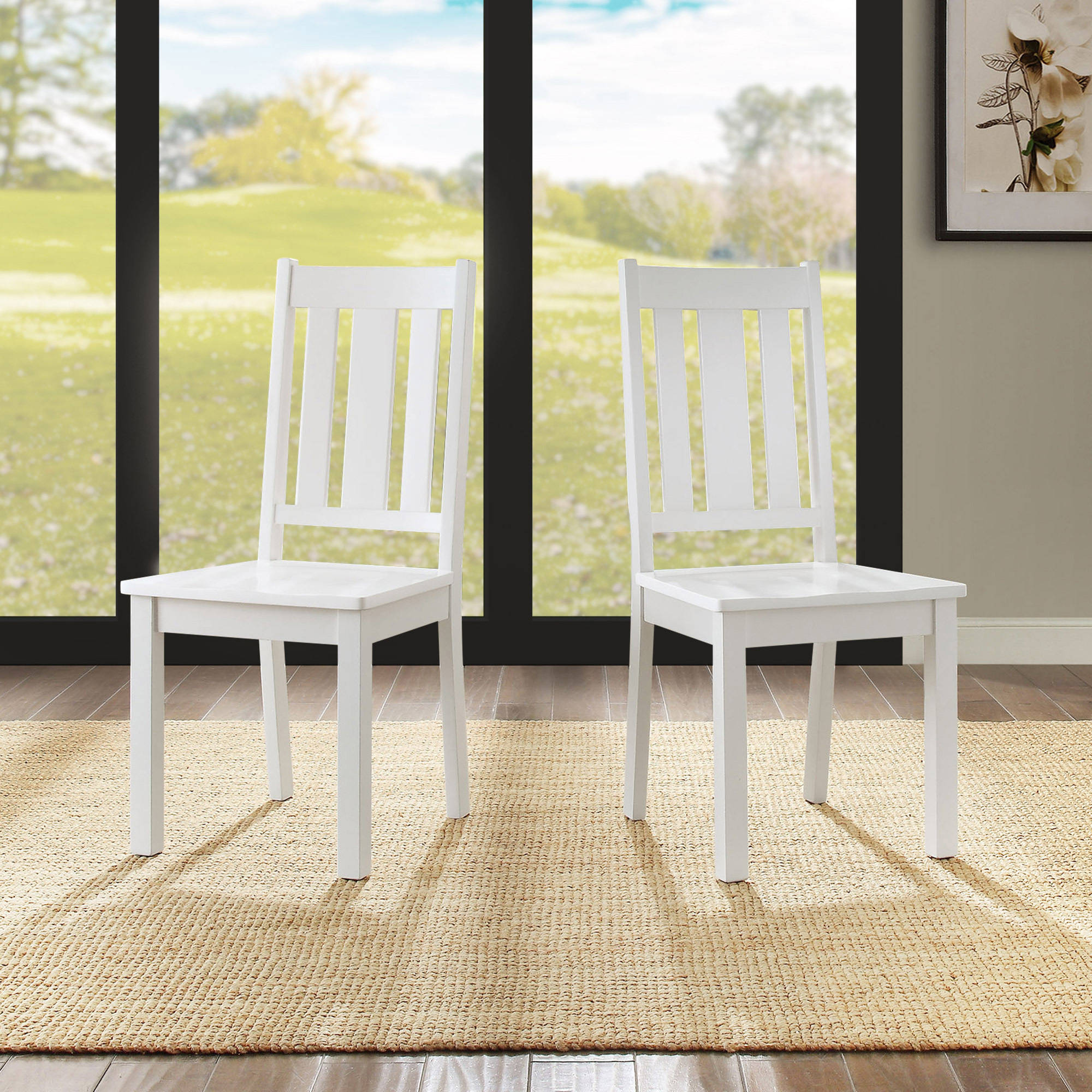 Better Homes and Gardens Bankston Dining Chair, White, 2 Pack