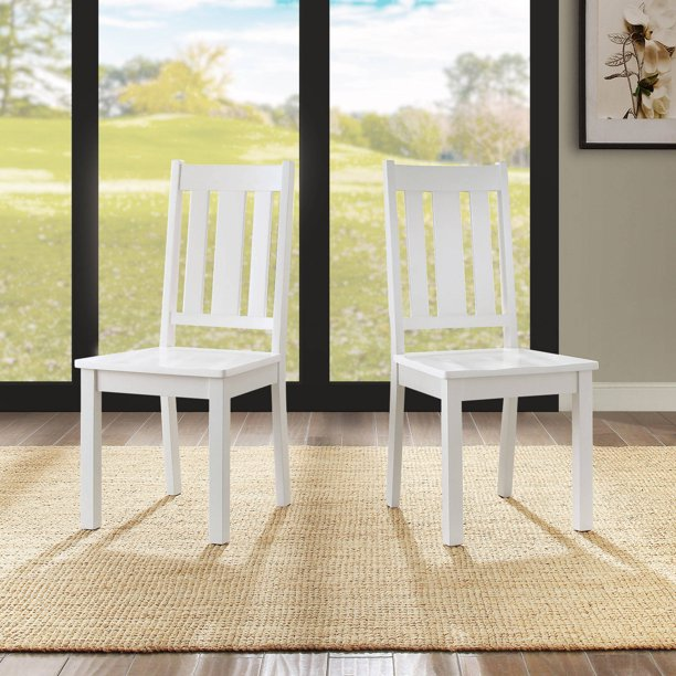 Better Homes and Gardens Bankston Dining Chair, Set of 2, White