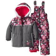 Rugged Bear Little Girls' Floral Printed Snowsuit