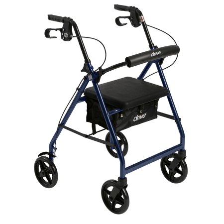 Drive Medical Aluminum Rollator With Fold Up And Removable Back Support And Padded Seat  Blue