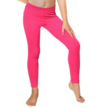 Girl's Cotton Leggings - Large Child (10) / Hot Pink - Leggins Hot Girls