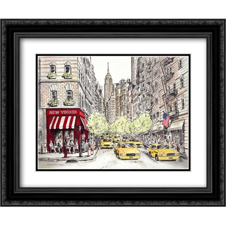 New Yorker 2x Matted 24x20 Black Ornate Framed Art Print by Marceau, -