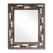 """32"""" Brown and White Natural Rustic Wooden Framed Decorative Wall Mirror"""