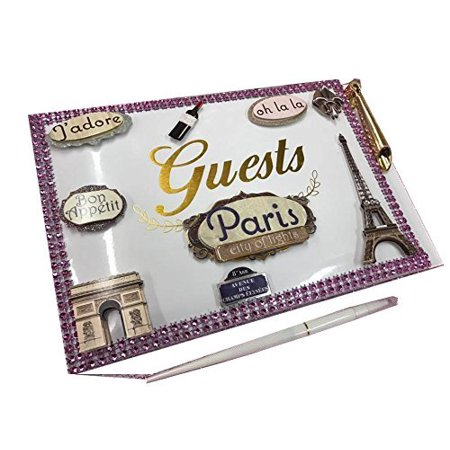 Paris Theme Guest Book with Pen for Weddings Sweet 16 Birthday Keepsake Gift