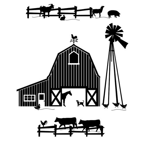 Dana Decals Farm Scene Silhoutte Small Wall Decal