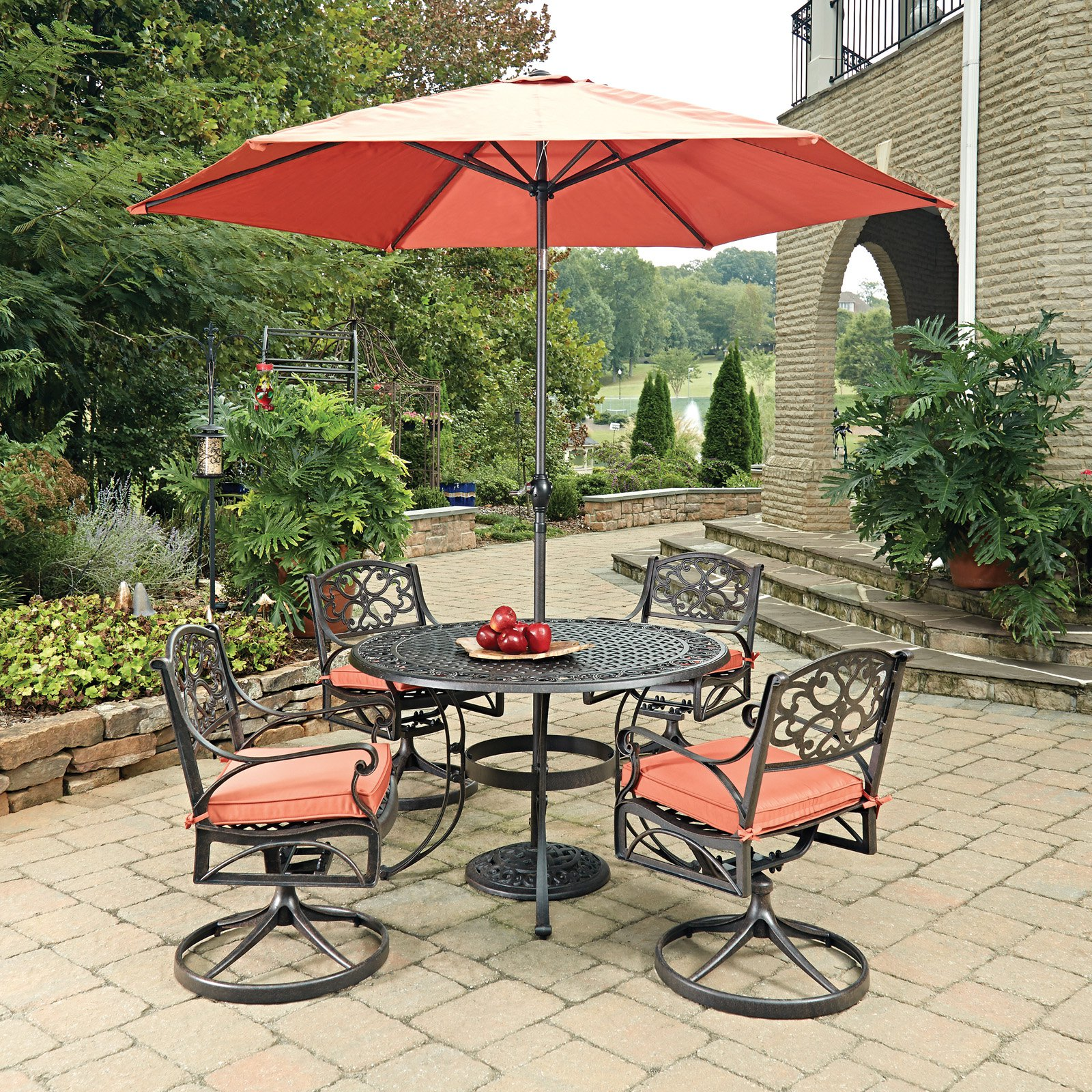 Home Styles Biscayne Rust Bronze Round 7 Pc Outdoor Dinin...