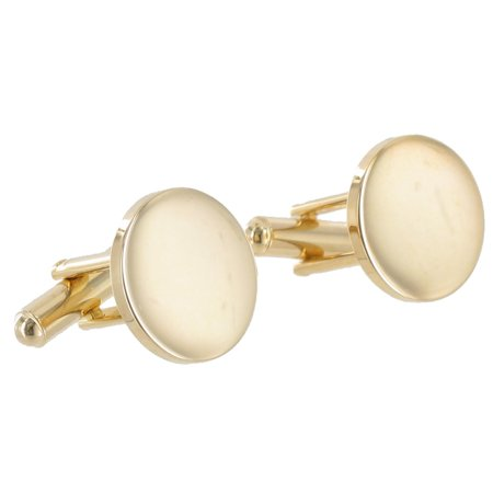 - Gold Tone Small Round Circle Toggle Back Mens Cufflinks