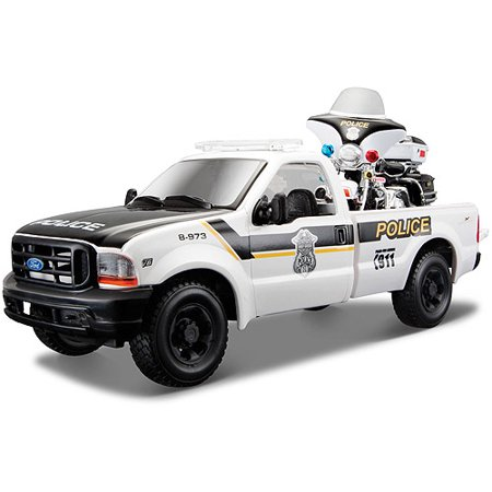 Harley-Davidson Themed 1999 Ford F350 Super Duty Pickup (Police) and 2004 FLHTPI Electra Glide