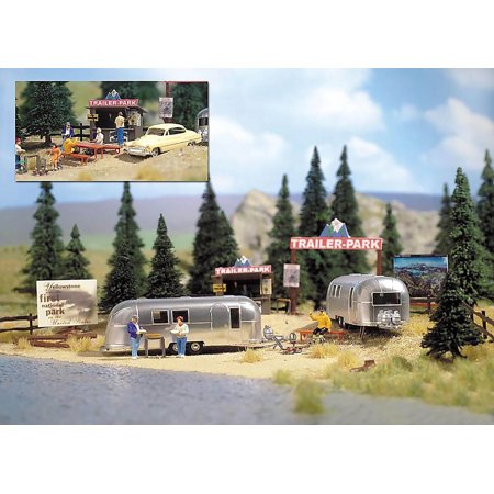 Busch HO Scale Camping Trailer Park w/ 2 Airstream Trailers Model Train Kit 1054 (American Model Builders Ho Scale)