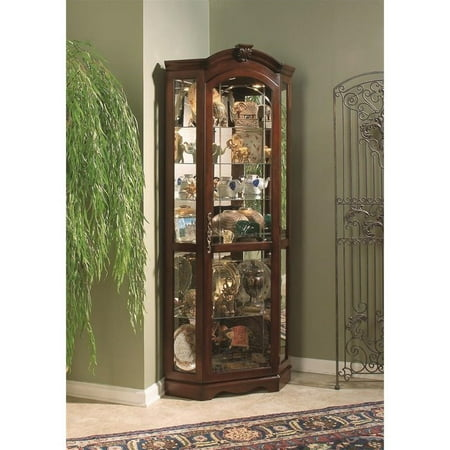- Pulaski Curios Corner Cabinet in Medallion Cherry