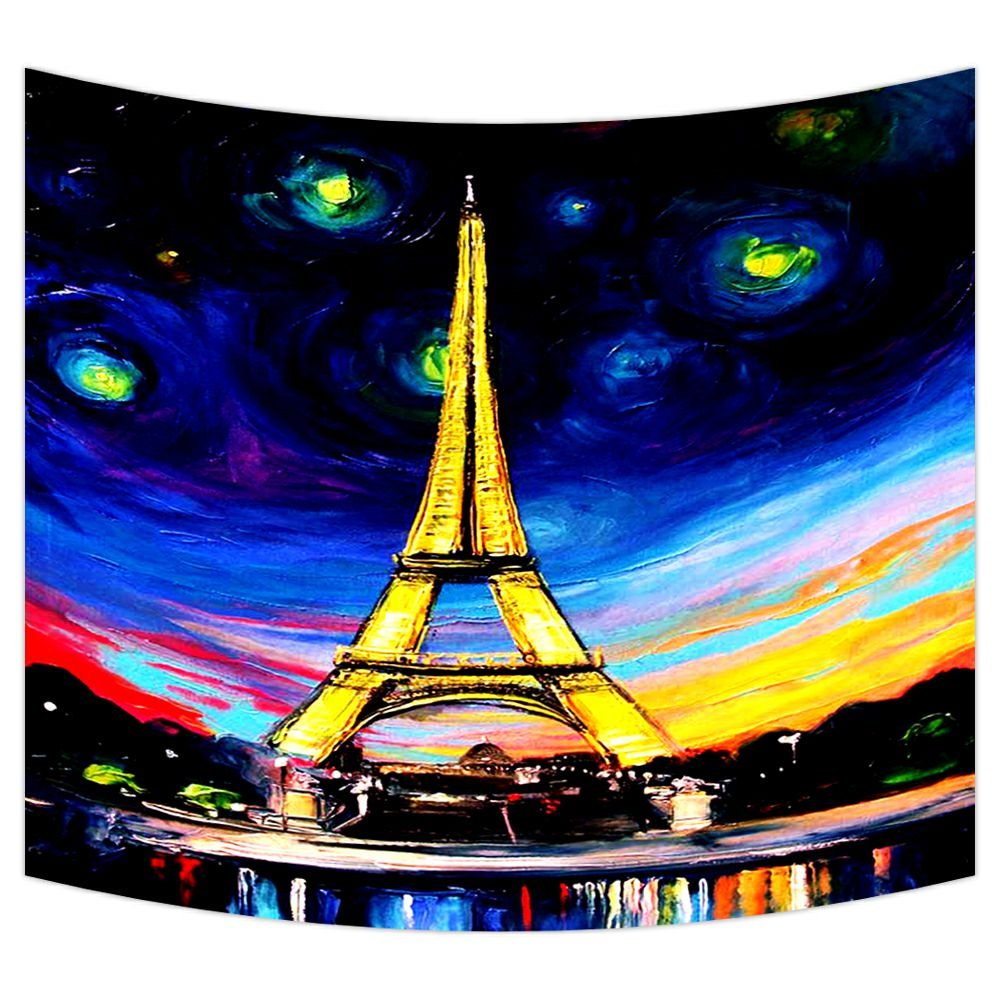 Colorful Tapestry Paris Eiffel Tower Print Wall Hanging Decor