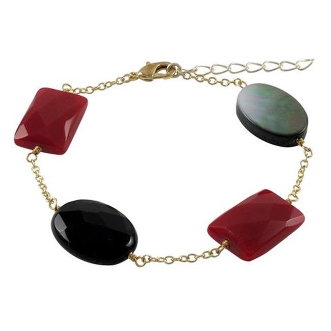 Dlux Jewels Black & Red Coral Semi Precious Faceted Stones Gold Plated Sterling Silver Chain Bracelet, 7.5 x 1 in. by Dlux Jewels
