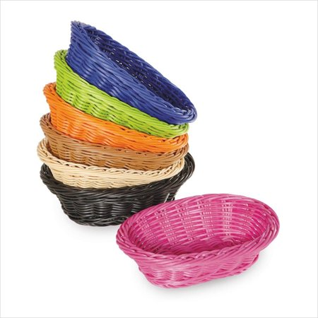 Designer Polyweave Baskets 9 inch x 6.75 inch Oval Basket 2.5 inch Deep Natural Polycarbonate/Case of 12 ()