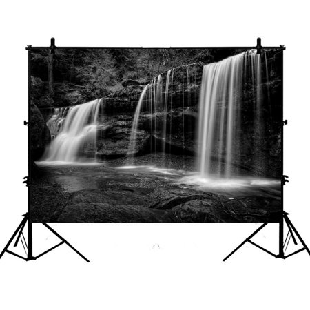 PHFZK 7x5ft Natural Landscape Backdrops, A Hidden Waterfall in Hocking Hills Ohio in Black and White Photography Backdrops Polyester Photo Background Studio Props ()