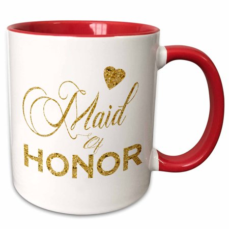 3dRose Maid Of Honor In Digital Faux Gold With A Heart - Two Tone Red Mug, 11-ounce