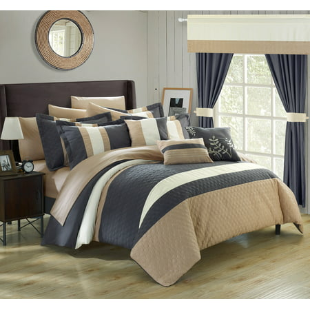 Chic Home 24-Piece Lorena Complete Bedroom Set with Octagon Embroidery Color Block pattern. decor pillows, window treatments Queen Bed In a Bag Comforter Set, Grey With sheet set Contemporary Blocks Comforter