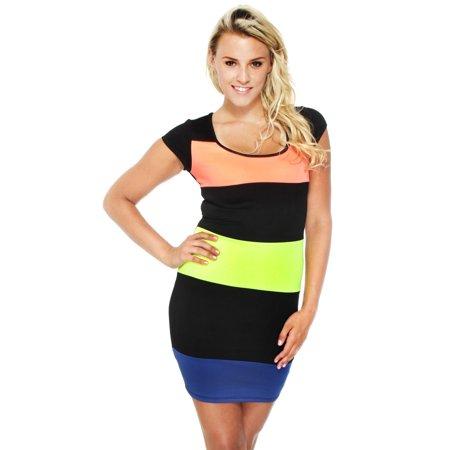 Neon Stripe Bodycon Dress Trendy Thick Quality Clubwear, S ()