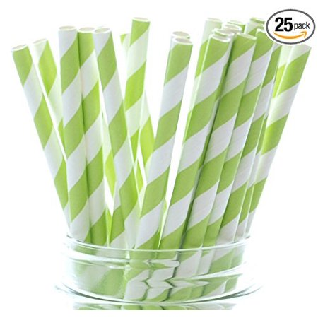 Lime Green Dazzling Cola Straws - 25 Pack - Pretty in Summer Beverages Like Juice, Lemonade and Punch, Pack of 25 High Quality Paper Drinking Lime Green Straws (7.75) By Food with Fashion ()