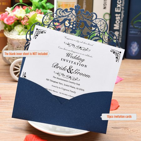 20Pcs Pearl Paper Laser Cut Wedding Invitation Cards Greeting Card Kits Event Party Supplies With Blank