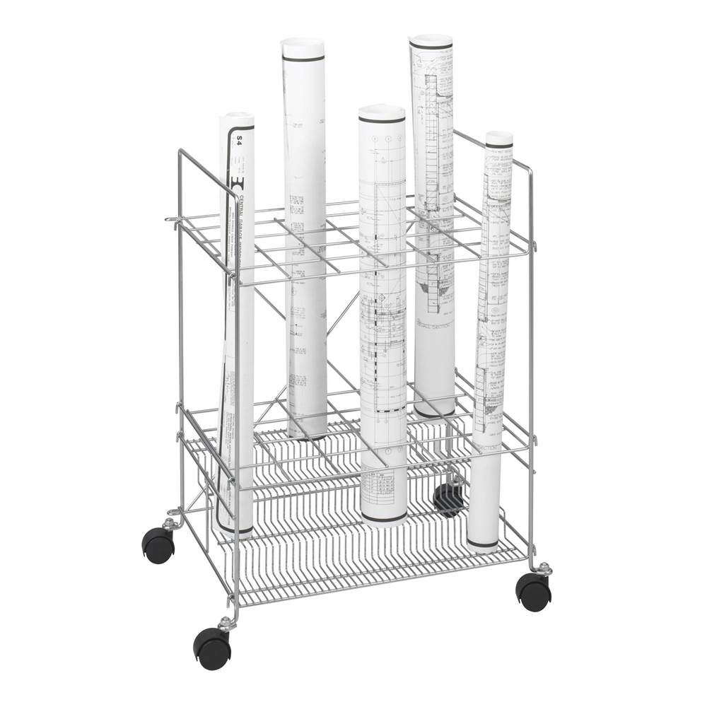 Tiered Chrome Wire Roll File w 24 Compartments