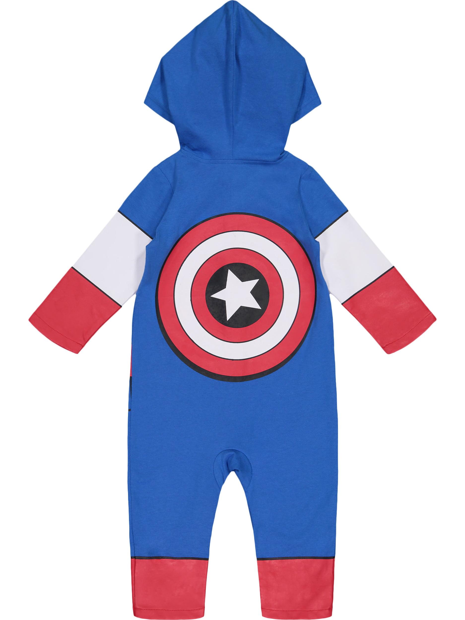 e805598748bc Marvel Avengers Captain America Toddler Boys  Zip-Up Hooded Costume  Coverall (4T) - Walmart.com