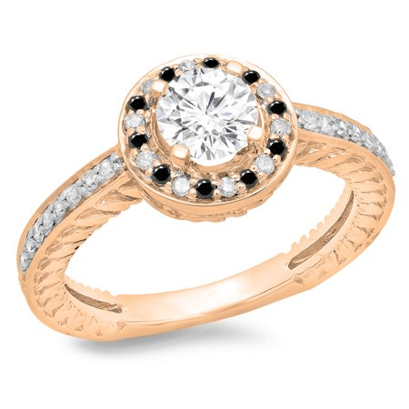1.00 Carat (ctw) 18K Rose Gold Round Cut Black & White Diamond Ladies Bridal Vintage Halo Style Engagement Ring 1 CT