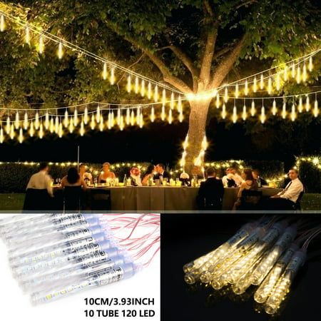 Meteor Seattle Halloween (LUXMO Outdoor Meteor Shower Lights, Waterproof 10cm 10 Tube 120 LED Falling Snow Lights Christmas String Light for Garden Outdoor Patio Holiday Party Halloween)