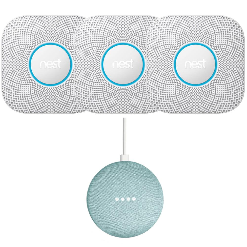 Nest Protect Smoke and CO Alarm Battery 3-Pack White + Mini Smart Speaker Aqua