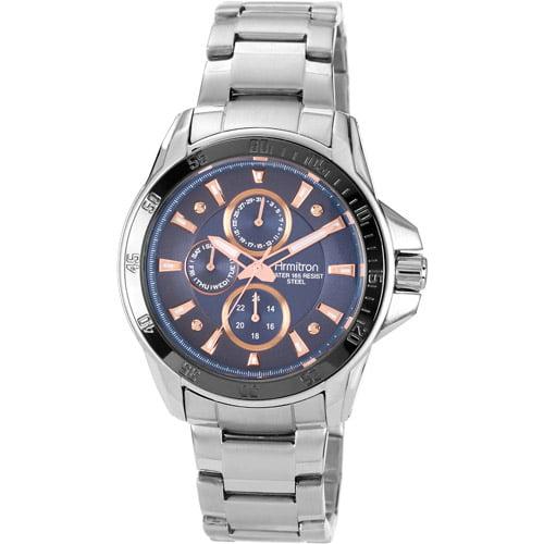 Armitron Men's Blue Multi-Dial Watch, Silver-Tone Bracelet